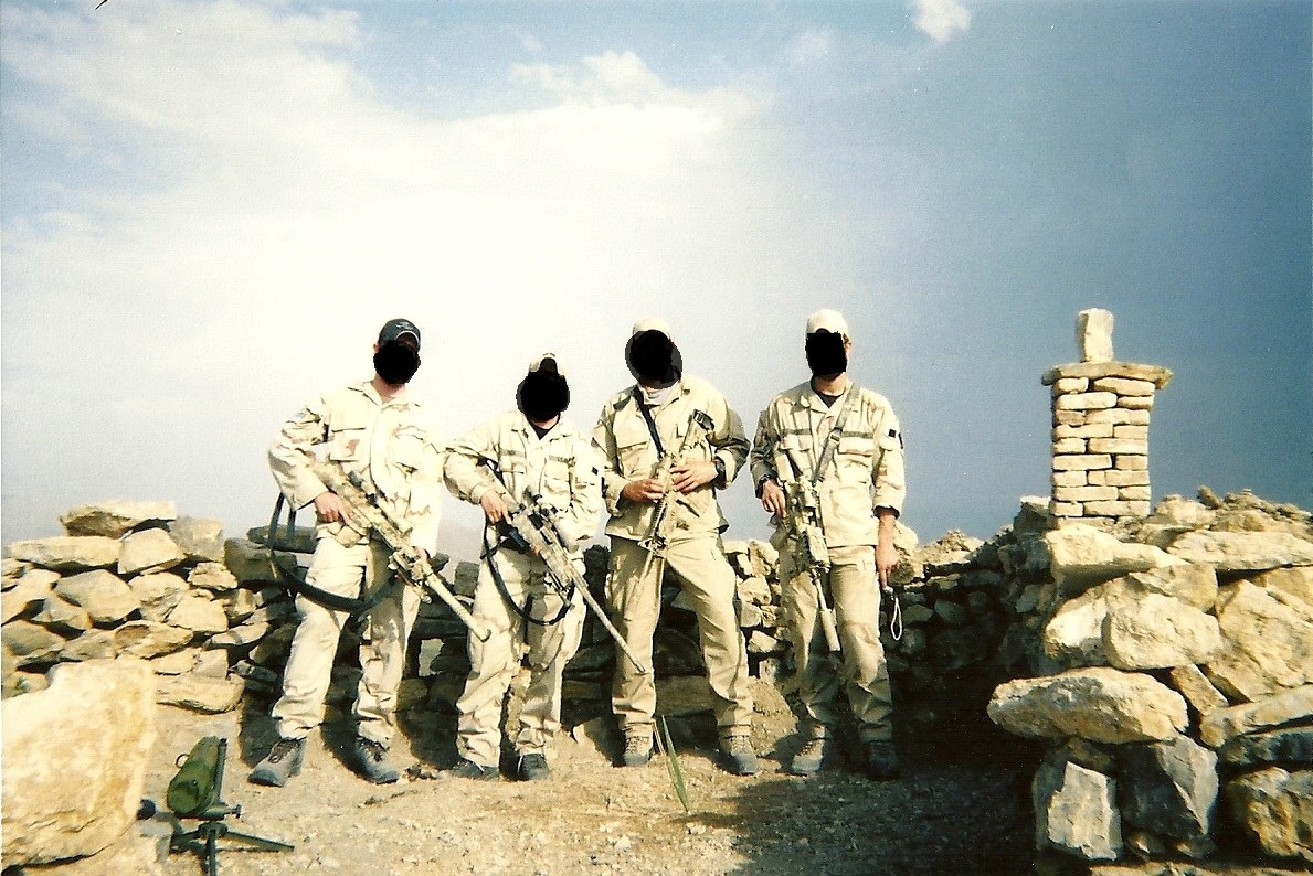 Myself On The Far Left With SR 25 And Spotting Scope At My Feet Next To Me Is A Sniper Buddy 300 WinMag Two Other Team Members